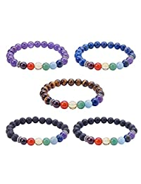 SUNNYCLUE Tibetan Style Natural Gemstone Beads Stretch Bracelets Silver Spacer Beads and Velvet Pouches