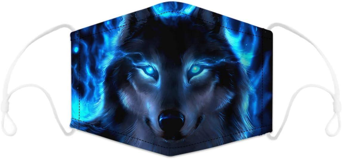 tama/ño Free color Lobo 2 transpirable con dos filtros reemplazables Hombre impresi/ón 3D Bandanas reutilizables para la nariz en forma de M Lifocs