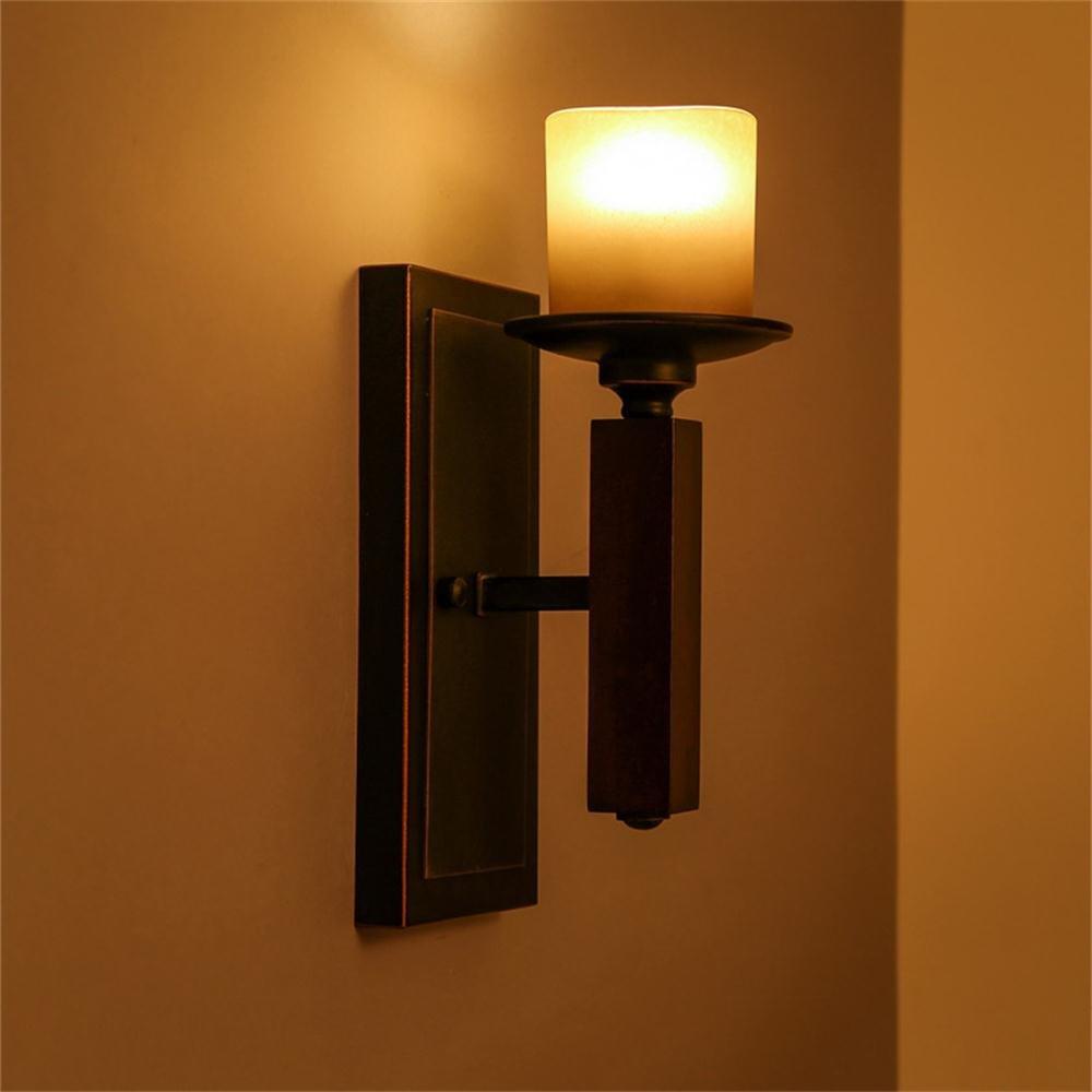 Leuchter FUFU Single-Kopf Eisen Europäische Retro Glas Korridor Wandleuchte amerikanische Schlafzimmer wandlampe im Landhausstil
