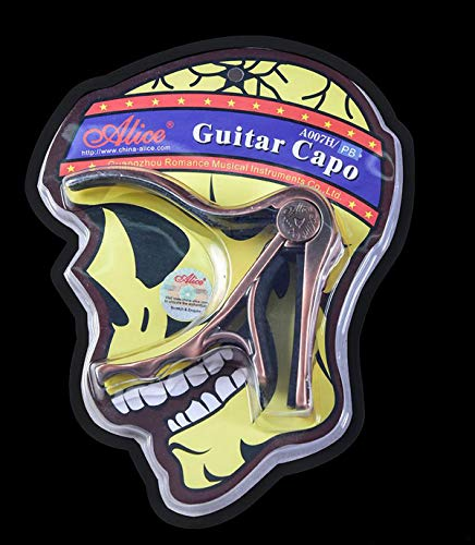Alice Skull Shape Aluminum Alloy Acoustic Folk Guitar Capo Bronze]()