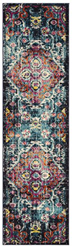 "Safavieh MNC252J-28 Monaco Collection Multi Runners, 2'2"" x 8', Blue/Fuchsia - The high-quality polypropylene pile fiber adds durability and longevity to these rugs The power loomed Construction adds durability to this rug, ensuring it will be a favorite for many years The modern style of this rug will give your room a elegant accent - runner-rugs, entryway-furniture-decor, entryway-laundry-room - 51SuRvXW8kL -"