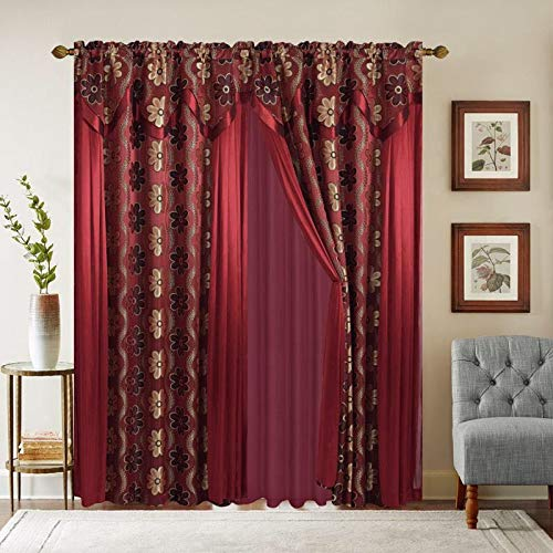 Jacquard 84 Inch Long Window Curtain Drapes w/attached Valance & Long Side Scarfs + Sheer Backing + 2 Tassels, Traditional 84