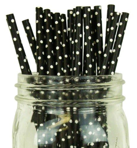 Mini Polka Dot Paper Straw 25pcs Black with White Dots -Just Artifacts Brand - Black Mini Dot