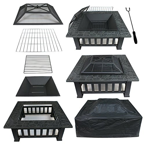 "ZENSTYLE 32"" Heavy Steel Square Fire Pit Outdoor Metal Firepit Wood Burning Fireplace w/Waterproof Dust Cover Patio Backyard Garden Stove Faux-Stone Finish by ZENSTYLE"