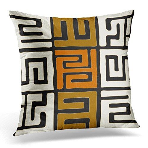 VANMI Throw Pillow Cover Orange Tribal Kuba Inspired Earth Geometric Black Ethnic Decorative Pillow Case Home Decor Square 18x18 Inches Pillowcase