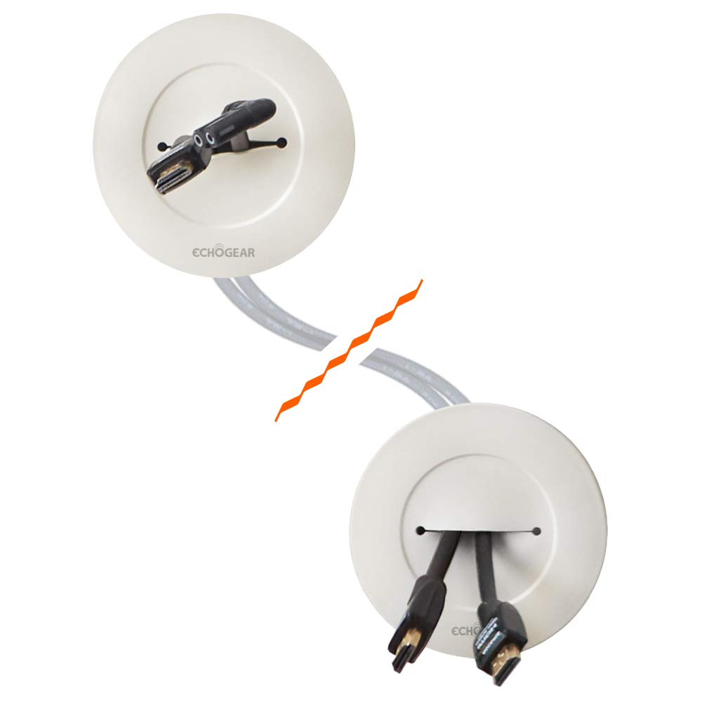 Echogear in-Wall Cable Management Kit - Cable Hider Conceals Low Voltage Cords - Includes 2 Pass Through Grommets, Locking Brackets, and Hole Saw Drill Attachment