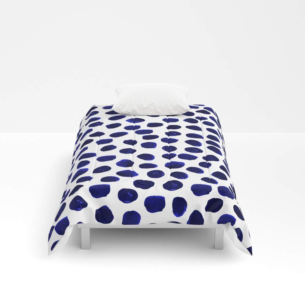 Society6 Comforter, Size Twin XL: 68'' x 92'', Indigo Spots dots Minimal Modern Abstract Painting Boho Dorm College Decor Monochromatic Nautical by charlottewinter