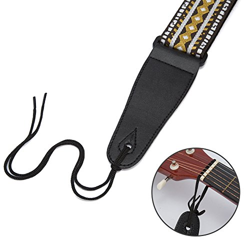 Guitar Strap,Phorcs Retro Guitar Strap Jacquard Weave Guitar Strap with Leather Ends - Soft Adjustable Guitar Strap for Electric Guitar Acoustic Bass, Includes 2 Picks - Best Gift for Guitarist