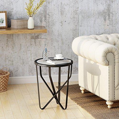 Irene Indoor Modern 18 Inch Light Grey Finish Ceramic Tile Side ()