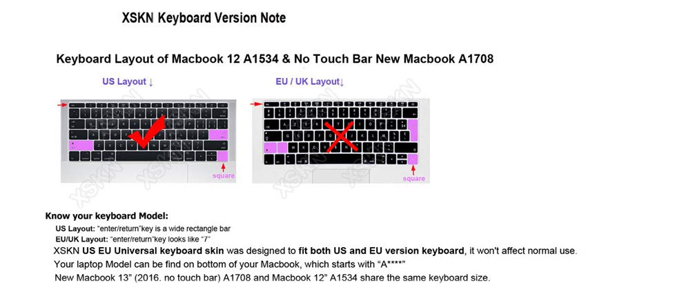 US/&EU Layout XSKN Avid Pro Tools Shortcut Design English Functional Hotkeys Silicone Keyboard Skin Cover for New MacBook Pro 13 A1708 and Macbook 12 A1534