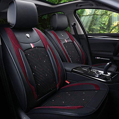 TUNBG Ice Silk Car Seat Cover Leather for Volkswagen BMW E46 E60 E90 Audi A3 A4 B8 Ford Focus Fiat Skoda Rapid Accessories Car Styling,Red,Black