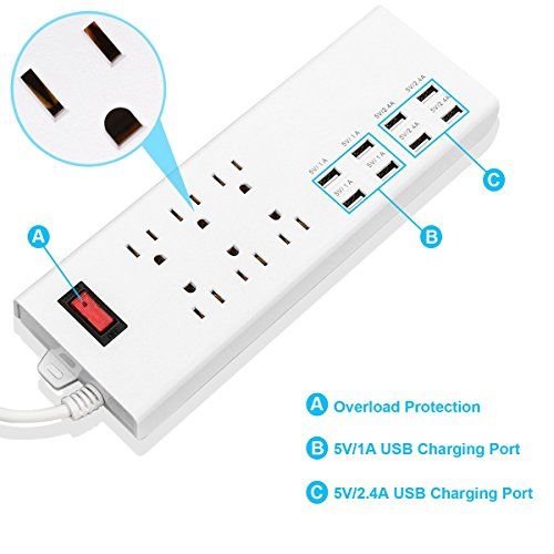 HONGYU 6 Outlet Home/Office Surge Protector/Power Strip with 8 USB Charging Ports(10A,5V/2.4A4 and 5V/1A4) 6 ft Cord Smart Power Adapter for iPhone, Tablets and Electronic Devices by HONGYU