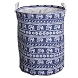 Cobrays Foldable Laundry Basket Cotton Linen Nursery Hamper with Handles Waterproof Kids Toy Storage Bag for Bedroom,Clothes,Baby Nursery (Elephant)