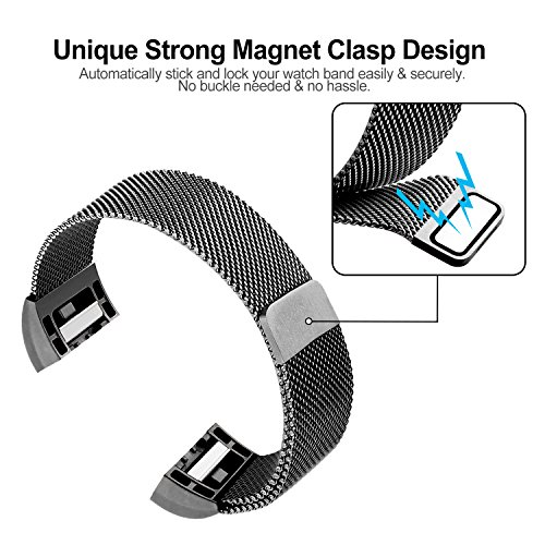 For Fitbit Charge 2 Bands, Charge 2 Stainless Steel Metal Bracelet with Unique Magnet Clasp Replacement Bands for Fitbit Charge 2 Large Small