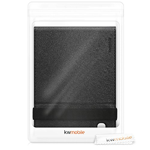 kwmobile Cover Compatible with Kobo Aura H2O Edition 2 - Faux Suede e-Reader Case with Built-in Hand Strap and Stand - Dark Grey