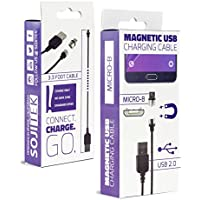 SOJITEK Genuine Detachable Magnetic Charging Charger (No Data Sync, No Fast Charge) 3.3FT (2A) Cable with Micro USB / Android Phone Magnetic Connector for Micro USB 2.0 A Male to Micro B
