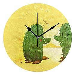 HangWang Wall Clock Cactus Hug Silent Non Ticking Decorative Round Digital Clocks for Home/Office/School Clock