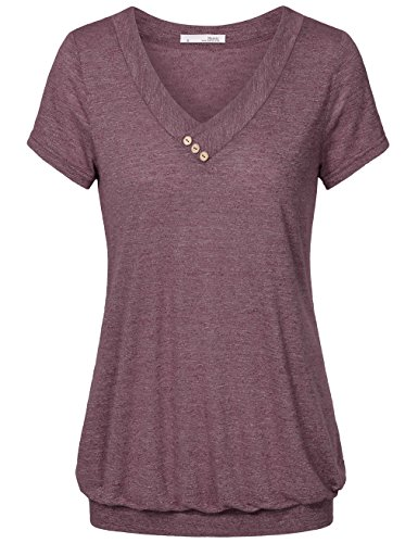 Messic Loose Fitting Tops For Women, Women's V Neck Lightweight Short Sleeve T-Shirt Pleated Casual Blouse Top (Large, Wine)