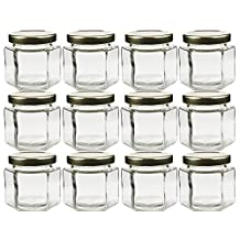 Cornucopia Brands Hexagon Glass Jars, Pack of 12, 4oz