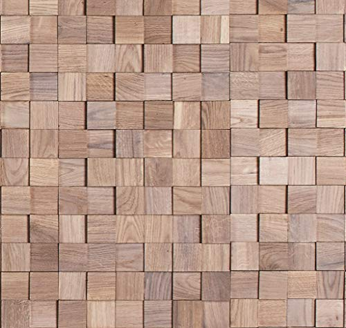 Timberwall - Mosaic Collection Chessboard Oak White - Wood Wall Panels - Solid Wood Planks - Glued Application - 5.5 Sq Ft