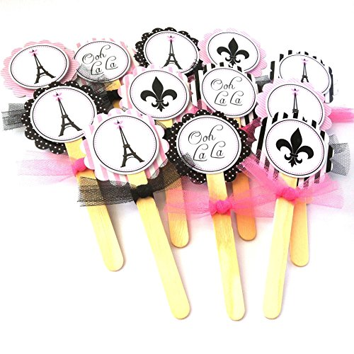 Paris Cupcake Toppers - Girl Birthday Baby Shower Bridal Wedding Party Supplies - Set of 12 -
