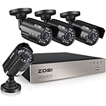 ZOSI 8-Channel HD-TVI 1080N/720P Video Security System DVR recorder with 4x HD 1280TVL Indoor/Outdoor Weatherproof CCTV Cameras NO Hard Drive ,Motion Alert, Smartphone& PC Easy Remote Access