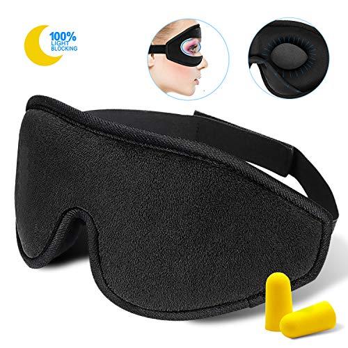 Snapsmile Eye Mask for Sleeping for Men Women, Adjustable 3D Silk Sleep Mask, Blindfold Eyeshade, Zero Pressure Sleeping Mask for Travel, Shift Work, Naps(Black)