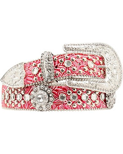 3 Piece Leather Concho Belt (Blazin Roxx Women's Floral Tooled Embellished Belt Hot Pink)