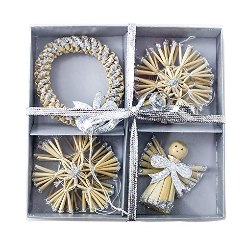 USLovee3000 Clearance Straw Angel Wreath Pendants Xmas Tree