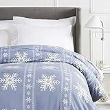 Pinzon Cotton Flannel Duvet Cover - King, Snowflake Dusty Blue