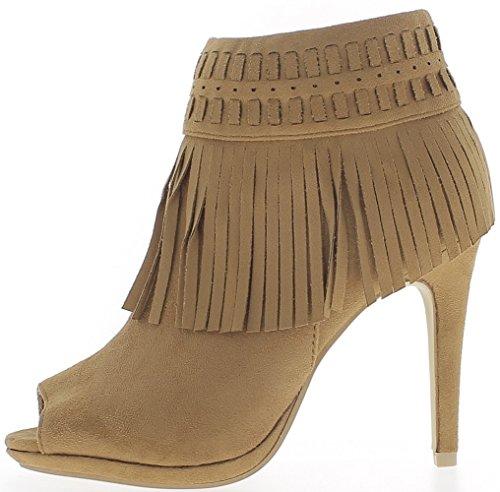 Bottines femme camel talons fins de 10,5cm ouvertes look daim et franges