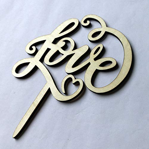 Vintage Wooden LOVE Cake Topper for Wedding Engagement Party Decoration