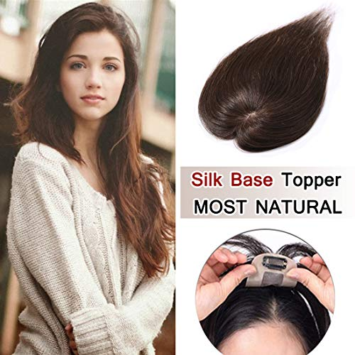 100% Density Top Hair Pieces Silk Base Crown Topper Human Hair Clip in Hair Toppers Top Hairpieces for Women with Thinning Hair Gray Hair/Hair Loss#04 Medium Brown 10 inches 20g