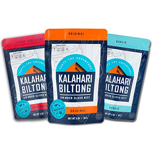 Kalahari Biltong | Air-Dried Thinly Sliced Aged Beef | Zero Sugar | Gluten-Free & non-GMO | Better than Jerky | Variety Pack | 2oz (Pack of 3)