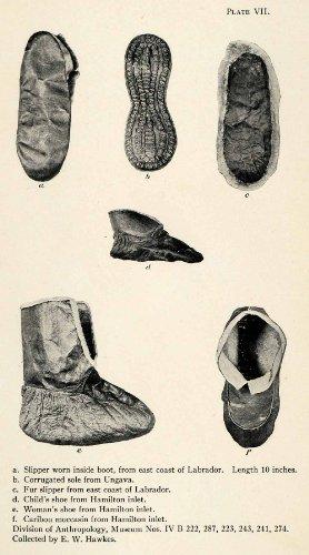 1916 Halftone Print Inuit Slipper Shoe Caribou Moccasin Labrador Footwear XGR6 - Original Halftone Print