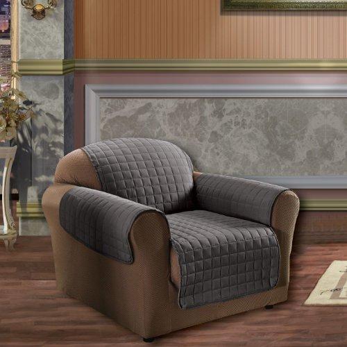 Elegance Linen Quilted Pet Dog Children Kids Furniture Protector Microfiber Slip Cover Chair, Gray