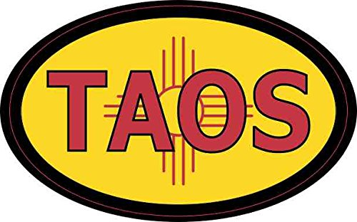 4in x 2.5in Oval New Mexico Flag Taos Sticker by - Oval 946