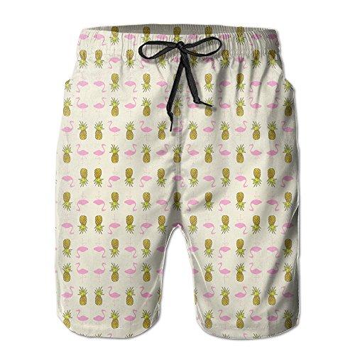 CREAT Men's Quick Dry Pineapple Flamingo Swim Trunks With Pockets