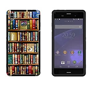 004 - Cool Funk Bookshelf Look Library Design Sony Xperia Z3 Full Body CASE With Build in Screen Protector Rubber Defender Shockproof Heavy Duty Builders Protective Cover