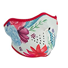 Distinct Name: Watercolor FlowerGender: Mens/UnisexColor: Red Watercolor FlowerSize: OSFMPrimary Color: RedMade from 100% neoprene. Include permanent mouth and eye vents. Eye opening large enough to accommodate goggles or sunglasses. Hook-and...