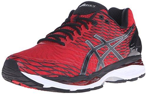 ASICS Men's Gel Nimbus 18 Running Shoe, Racing Red/Black/Silver, 8 M US