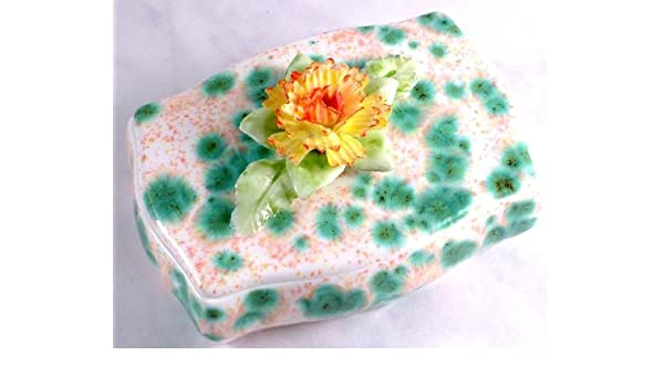 8e2fea0f5f3 Amazon.com  Iauctionshop Limited Edition soap dish or trinket box hand  decorated green pink and yellow flower  Home   Kitchen