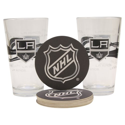 NHL Pint Glass and Coaster Set (2 Pack) (Los Angeles Kings) ()