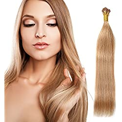 "22"" 100S Stick I- Tip Remy Hair Keratin BLonde Stick I Tip Fusion Hair Extensions 0.5g Per Strand 50g Per Package"