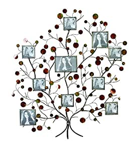 Aspire Metal Family Tree Picture Frame Wall Decor, Silver/Brown