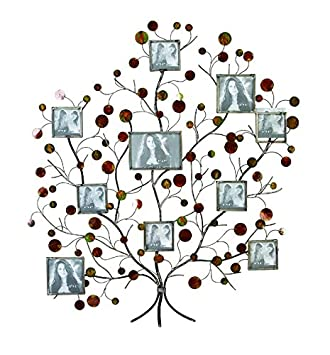 aspire metal family tree picture frame wall decor silverbrown