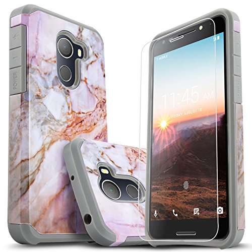 T-Mobile REVVL Case, Alcatel A30 Plus Case, Alcatel A30 Fierce Case, Jitterbug Smart 2 Case, with [Premium Screen Protector] Starshop [Shock Absorption] Dual Layers Protective Phone Cover-Marble Color