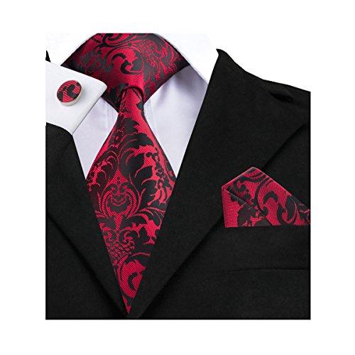 Barry.Wang Black Ties Woven Necktie Handkerchief Cufflinks Set Formal
