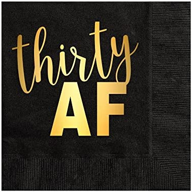 Gold Foil Napkins 30th Birthday Party Decor Decoration Set of 25 30 and Thirsty Napkins Thirty and Thirsty Cocktail Napkins for a 30th Birthday Party