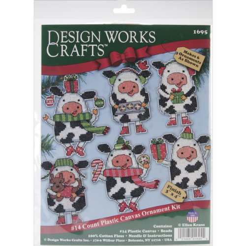 Ornaments Plastic Canvas (Tobin DW1695 Cow Ornaments Plastic Canvas Kit, 3 by 4-Inch, Set of 6)